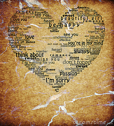 Vintage isolated love heart words shape textured