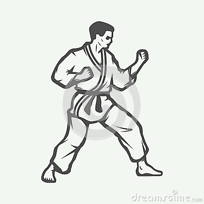 Free Vintage Karate Or Martial Arts Logo, Emblem, Badge, Label Stock Images - 64107464