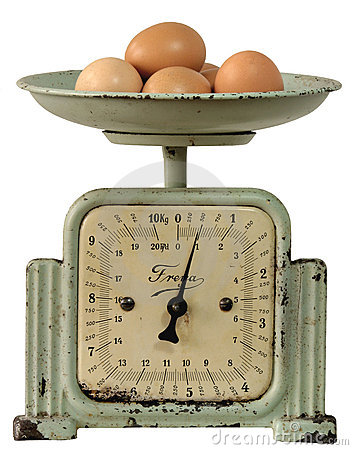 Vintage kitchen-scales with eggs
