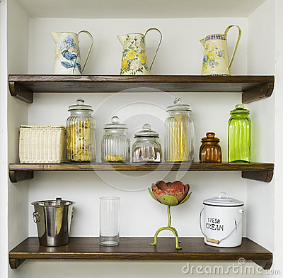 Free Vintage Kitchen Shelves With Jars, Jugs And Pots Stock Images - 42258824
