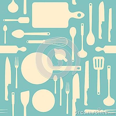 Free Vintage Kitchen Tools Pattern Royalty Free Stock Image - 51644206