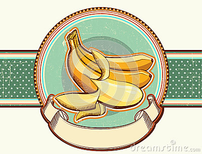 Vintage label with fresh bananas.Vector illustrati