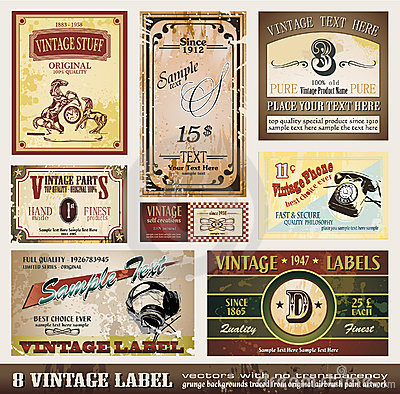 Free Vintage Labels Collection Royalty Free Stock Photos - 14159178