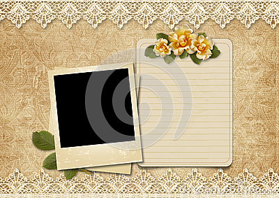 Vintage lace background with old polaroid-frame and rose