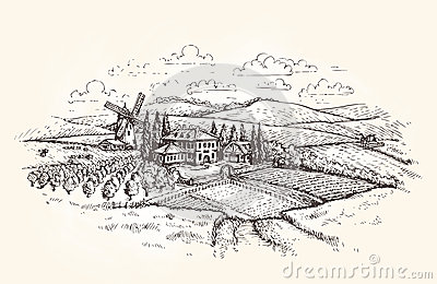 Vintage landscape. Farm, agriculture or wheat field sketch. Vector illustration Vector Illustration
