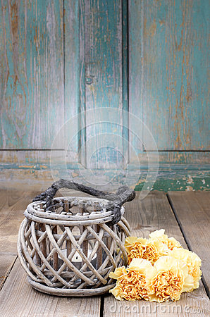 Free Vintage Lantern And Bouquet Of Yellow Carnations Stock Photo - 41167000