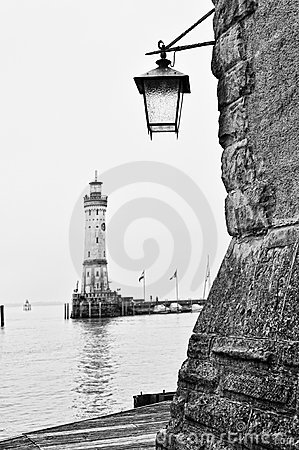 Vintage lantern on Lindau harbour