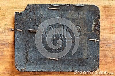 Vintage leather packing list label