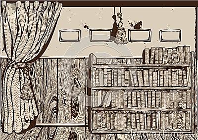 Vintage library interior.