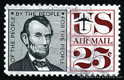 Vintage Lincoln USA 25c Stamp