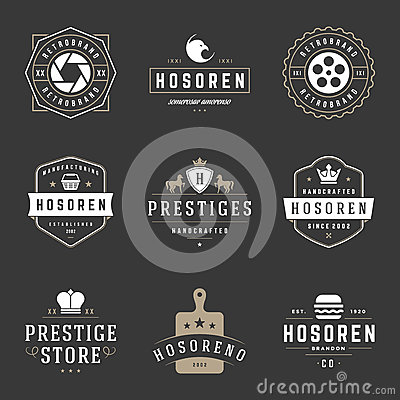 Free Vintage Logos Design Templates Set. Vector Design Elements, Logo Elements Stock Image - 69396481