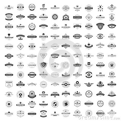 Free Vintage Logos Design Templates Set. Vector Logotypes Elements Collection Stock Photography - 69396642