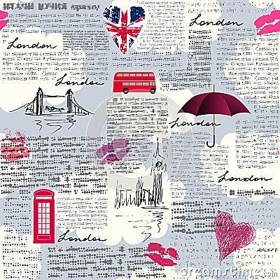 Free Vintage London Pattern Royalty Free Stock Images - 86569419