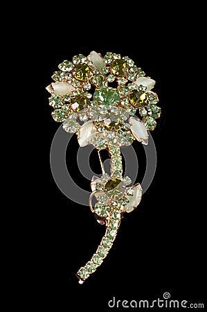 Free Vintage Long Stem Green Rhinestone Flower Brooch Stock Photography - 16007702