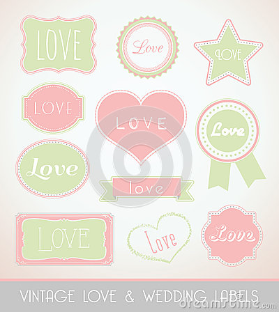 Vintage love and wedding labels