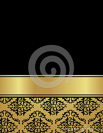 Vintage luxury card with damask seamless pattern