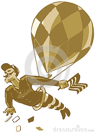 Vintage Male Acrobat with Balloon and Flag