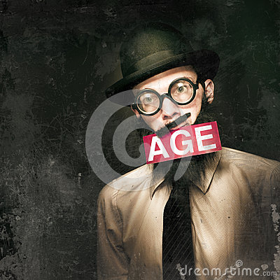 VintAGE Man Growing Elderly In Old Fashioned Style