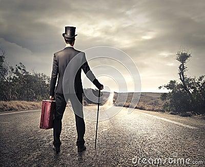 Vintage man ready to go