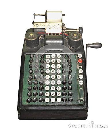 Free Vintage Manual Adding Machine Isolated Royalty Free Stock Photography - 34680147