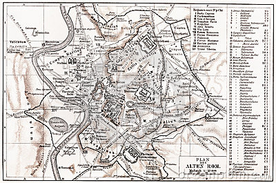 Vintage map of Ancient Rome