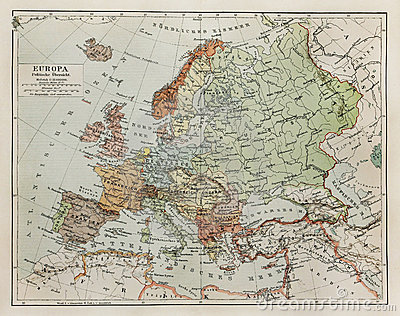 Vintage map of Europe at the end of 19th century