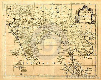 Vintage Map of India and SE Asia.