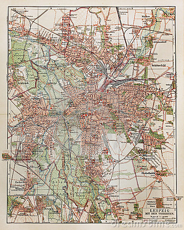 Vintage map of Leipzig