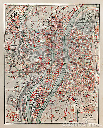 Vintage map of Lyon
