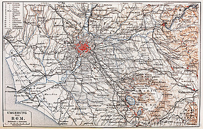 Vintage map of Rome surroundings
