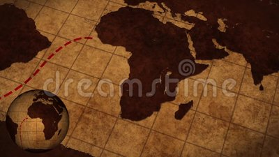 new style f3e4b 19431 Vintage Map Of The World With Animated Route Stock Video - Video of  america, brown  133618401