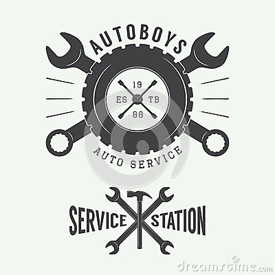 Free Vintage Mechanic Label, Emblem And Logo. Vector Illustration Stock Photos - 56227653