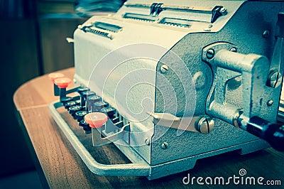 Vintage mechanical adding machine