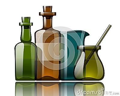 Vintage medicine bottles, vector