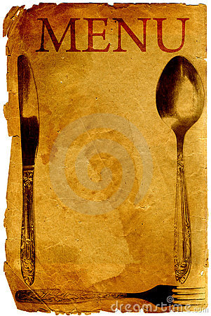 Vintage menu with spoon, fork and knife