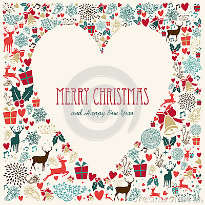 Free Vintage Merry Christmas Love Heart Card Royalty Free Stock Photography - 35583747