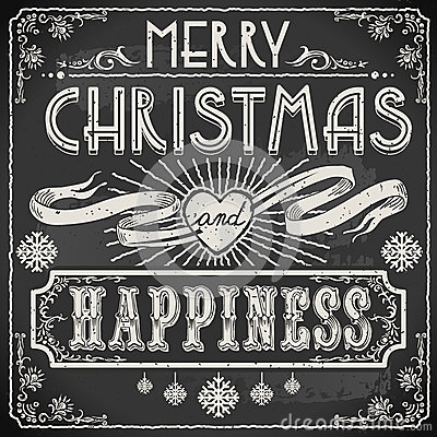 Free Vintage Merry Christmas Text On A Blackboard Stock Images - 34675954