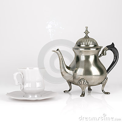 Free Vintage Metal Coffee Pot With Cute White Cup On White Background Royalty Free Stock Photography - 44080207