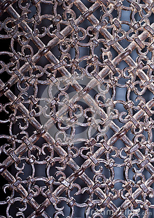 Vintage metal grille with ornate patterns