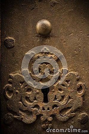 Key hole in old door