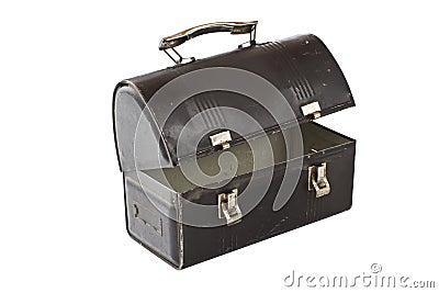 Vintage metal lunch box painted black