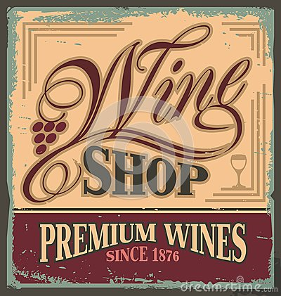 Free Vintage Metal Sign For Wine Shop Royalty Free Stock Photography - 30914197