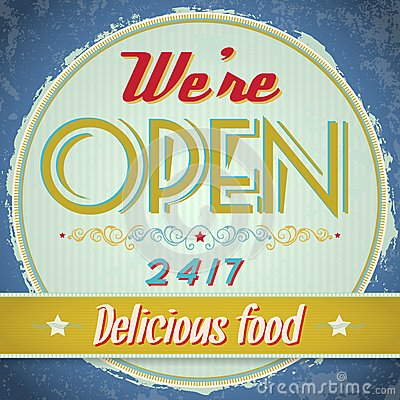 Vintage metal sign - We Are Open Come In