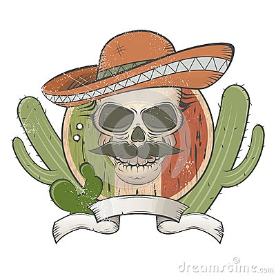 Vintage mexican skull with sombrero and mustache
