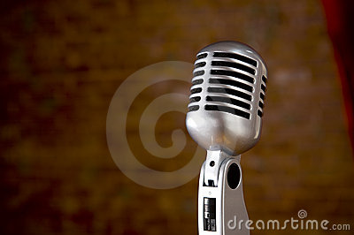 Vintage Microphone in front of blurred background