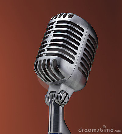 Vintage microphone on red