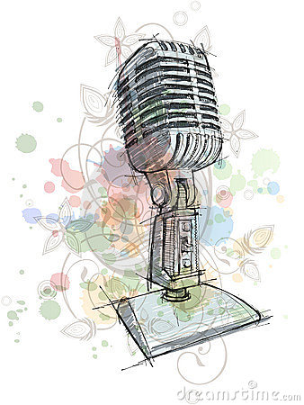 Vintage Microphone sketch & floral ornament