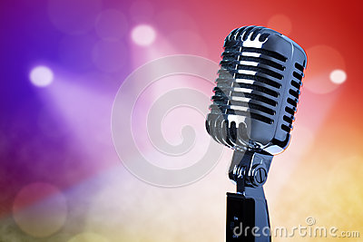 Vintage microphone on stage