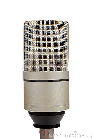 Vintage microphone on a white  background