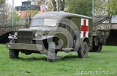 Vintage military ambulance